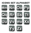 Icons set alphabet on the grey background vector image