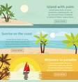 palm coast rest banner horizontal set flat style vector image
