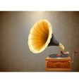 Retro style gramophone on pattern background vector image
