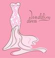 Wedding invitation with bridal dress vector image