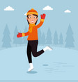winter sports happy people cartoon vector image