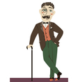Vintage gentleman with cane vector image