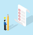 businessman with pencil and checklist isometric vector image vector image