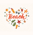 beach word with summer elements sunscreen vector image
