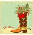 Cowboy boot with Christmas elements vector image vector image