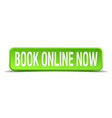 book online now green 3d realistic square isolated vector image