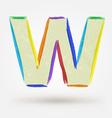 Alphabet letter W Watercolor paint design element vector image