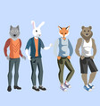 anthropomorphic animals man vector image
