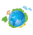 blue planet earth with nature - green world vector image