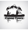 Canoe tours label Two man in a boat with vector image