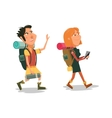 Family hike cartoon colorful vector image