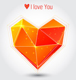 Orange and red triangle heart vector image