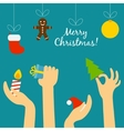 People hand holding a Christmas symbolism and vector image