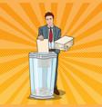 pop art businessman utilises paper documents vector image