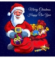 Santa Claus with two red bags of gifts vector image