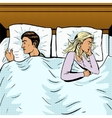 Young couple in bed offended pop art style vector image