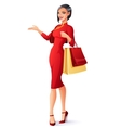 Beautiful Chinese Asian lady with shopping bags vector image