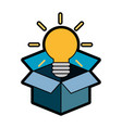 box with bulb ico vector image