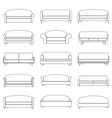 set of contour sofa icons vector image vector image