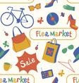 Summer Flea market seamless pattern vector image