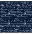 seamless pattern with submarines and torpedoes vector image