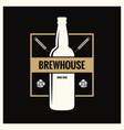 beer bottle label brew vintage logo on black vector image