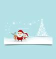 Christmas Greeting Card with Christmas tree Santa vector image