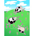 Cows on a green hill dancing vector image