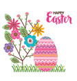 eggs paint and flowers easter season vector image