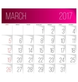 March 2017 calendar template vector image