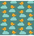 Seamless birds and clouds pattern vector image