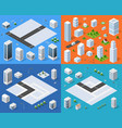 Isometric set 3d city vector image