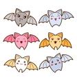 Set of kawaii bats with different facial vector image