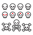 Kawaii cute Halloween skull icons set vector image