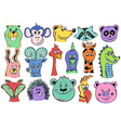 Set Of Funny Cartoon Animal Face Icons vector image