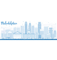Outline Philadelphia Skyline with Blue Buildings vector image