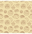 Coffee seamless line pattern vector image