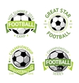 Football labels green vintage vector image