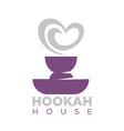 hookah house emblem with shisha bowl and smoke vector image