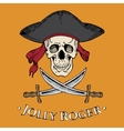 Jolly Roger skull in the cocked hat with two vector image