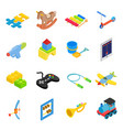 Toys isometric 3d icons set vector image