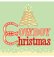 Cowboy Christmas card with text and rope tree vector image