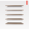 Set of Wood Shelves Isolated on the Wall vector image