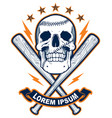 skull with baseball bats vector image