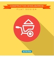 Wheelbarrow full of sand into flat style vector image