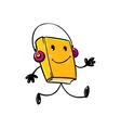 Funny book with headphones vector image