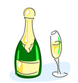 Champagne bottle glass vector image