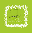 happy st patricks frame with clover and text vector image