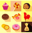 sweets and candy icons set flat style vector image