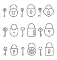 Lock keyhole and keys line art icons set vector image